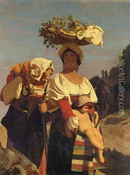 Two Italian Peasant Women and an Infant Oil Painting - Jean-Leon Gerome