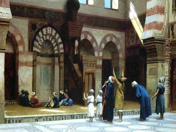 Prayer in the Mosque of Caid Bey, in Cairo Oil Painting - Jean-Leon Gerome