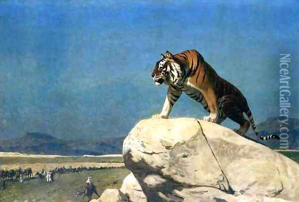 Tiger On The Watch Ii Oil Painting - Jean-Leon Gerome