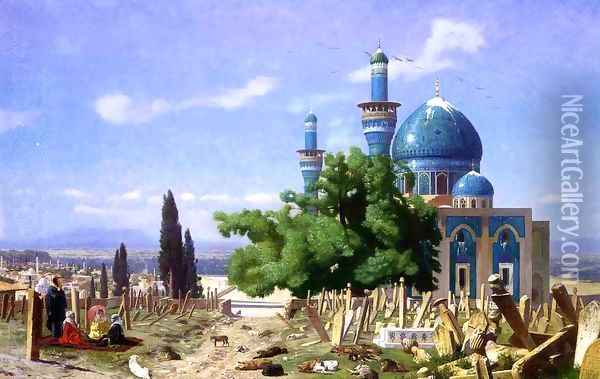 Cemetery Gone to Seed Oil Painting - Jean-Leon Gerome