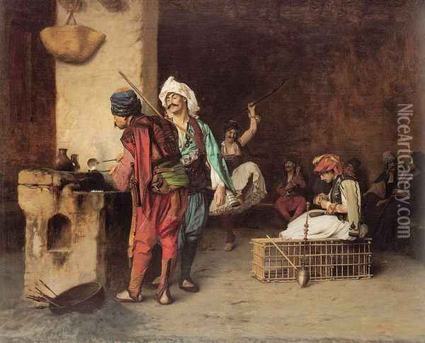 Cafe House, Cairo Oil Painting - Jean-Leon Gerome