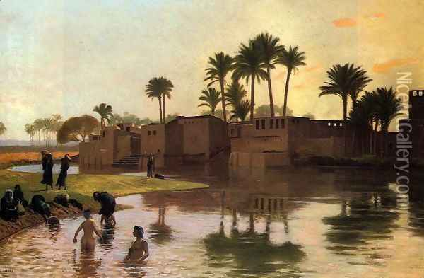 Bathers by the Edge of a River Oil Painting - Jean-Leon Gerome