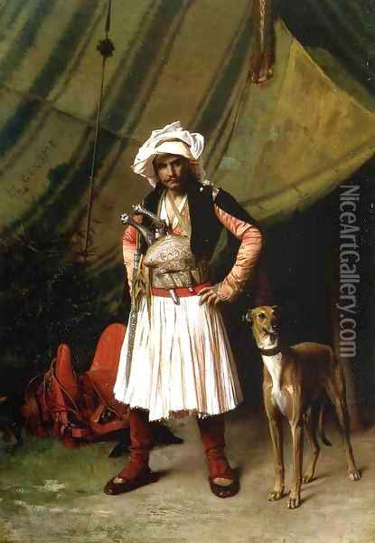 Bashi Bazouk And His Dog Oil Painting - Jean-Leon Gerome