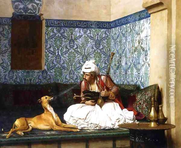 Arnaut Blowing Smoke in His Dog's Nose Oil Painting - Jean-Leon Gerome