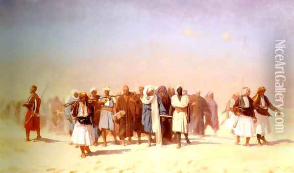 Egyptian Recruits Crossing The Desert Oil Painting - Jean-Leon Gerome