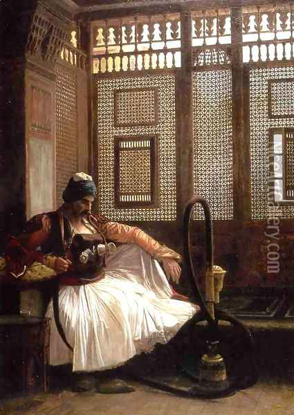 Janissary Smoking Oil Painting - Jean-Leon Gerome