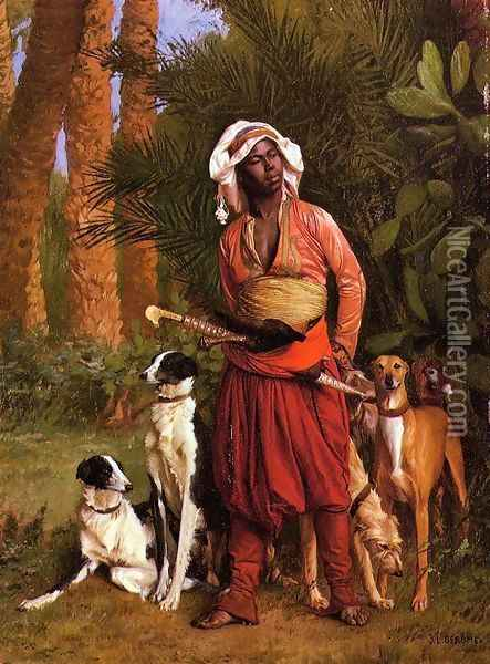 The Negro Master of the Hounds Oil Painting - Jean-Leon Gerome