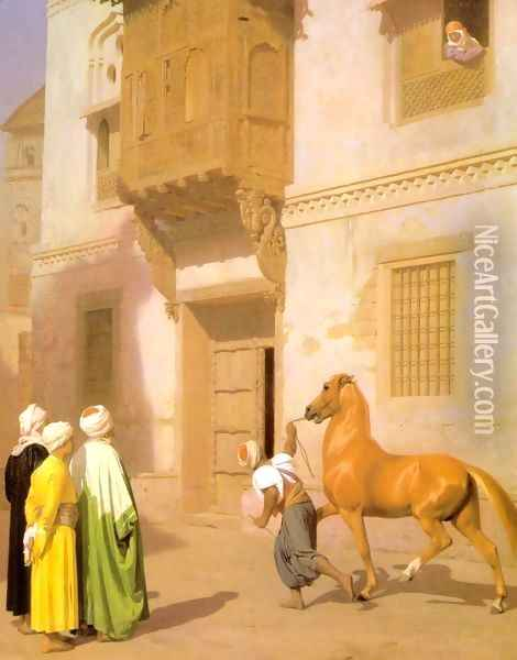 Cairene Horse Dealer (or The Horse Market) Oil Painting - Jean-Leon Gerome