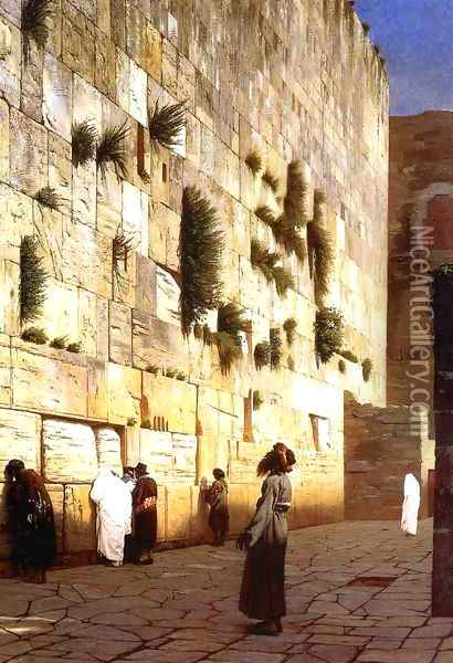Solomon's Wall Jerusalem (or The Wailing Wall) Oil Painting - Jean-Leon Gerome