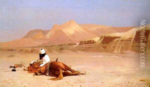 The Arab and his Steed (or In the Desert) Oil Painting - Jean-Leon Gerome