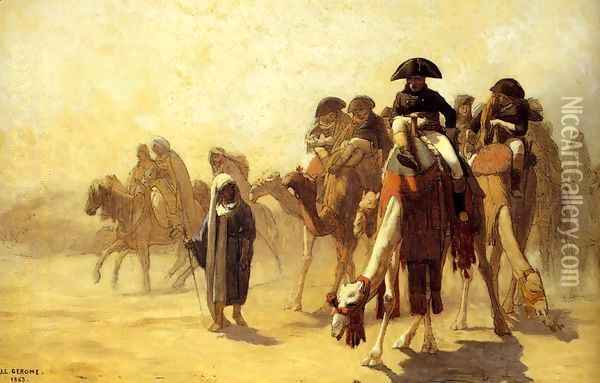 General Bonaparte With His Military Staff In Egypt Oil Painting - Jean-Leon Gerome