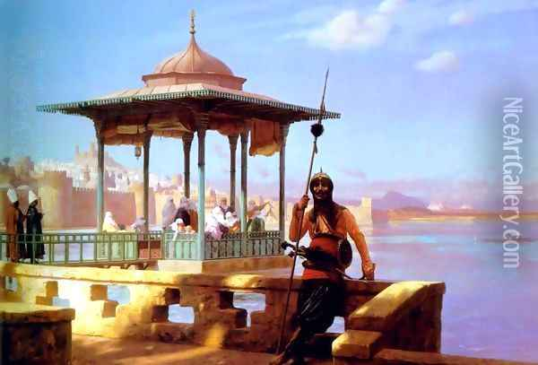 Harem in the Kiosk (or The Guardian of the Seraglio) Oil Painting - Jean-Leon Gerome