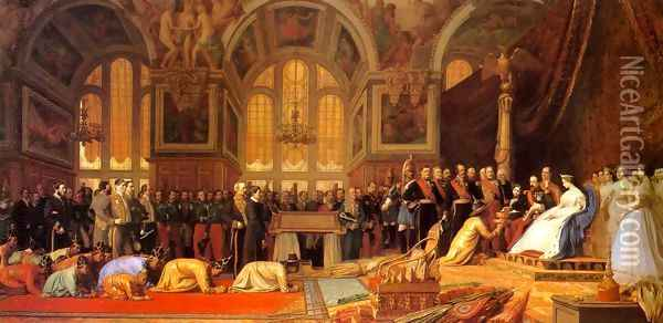 The Reception Of The Siamese Ambassadors At Fontainebleau Oil Painting - Jean-Leon Gerome