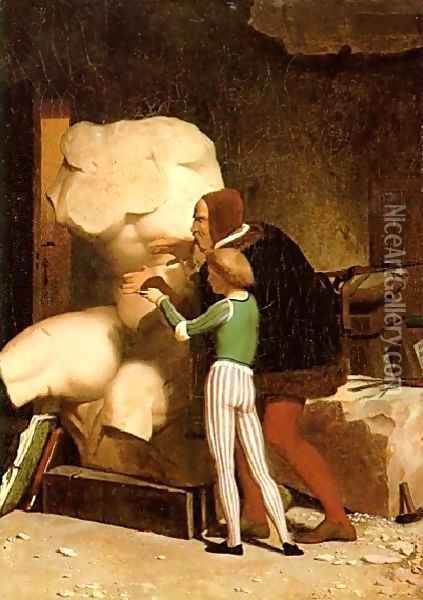 Michelangelo (or In his Studio) Oil Painting - Jean-Leon Gerome
