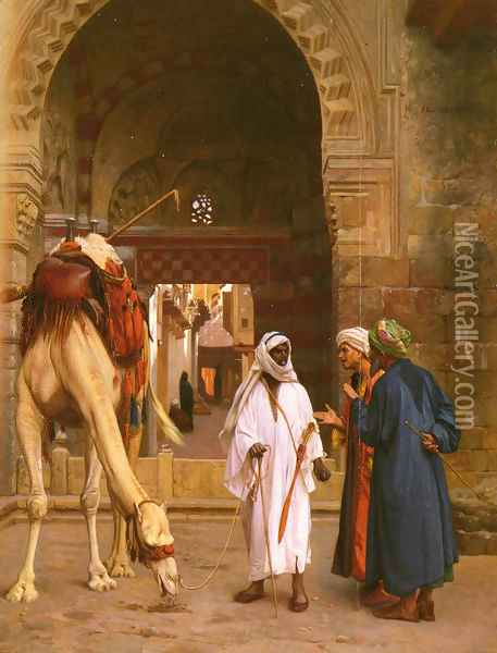 Dispute D'Arabes (Arabs Arguing) Oil Painting - Jean-Leon Gerome
