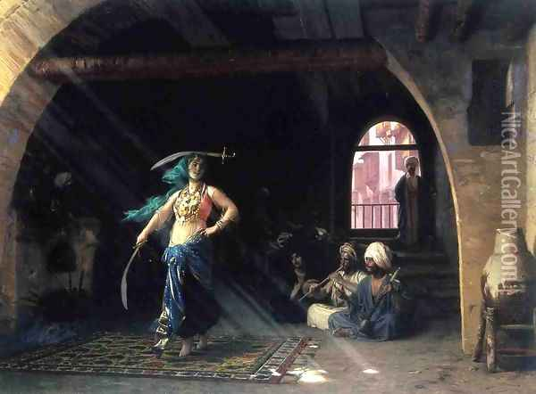 Sabre Dance in a Cafe Oil Painting - Jean-Leon Gerome