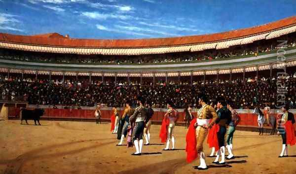 Plaza De Toros The Entry Of The Bull Oil Painting - Jean-Leon Gerome