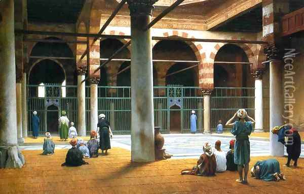 Interior of a Mosque Oil Painting - Jean-Leon Gerome