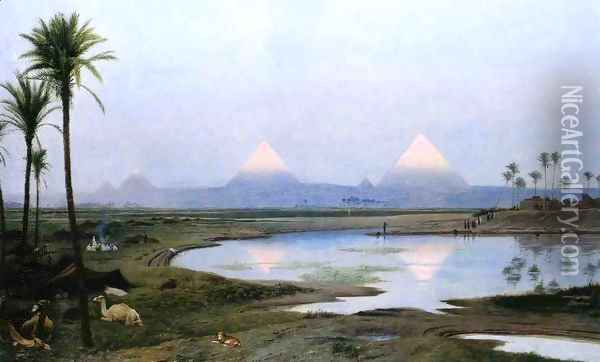 The Pyramids, Sunrise Oil Painting - Jean-Leon Gerome
