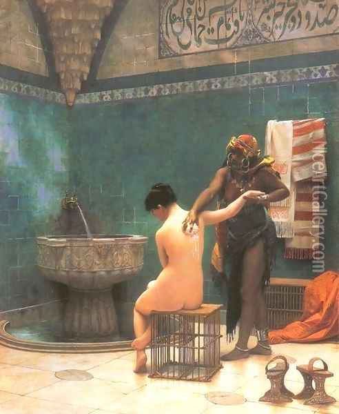 The Bath Oil Painting - Jean-Leon Gerome