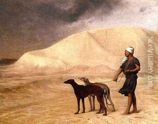 Team of Dogs in the Desert Oil Painting - Jean-Leon Gerome