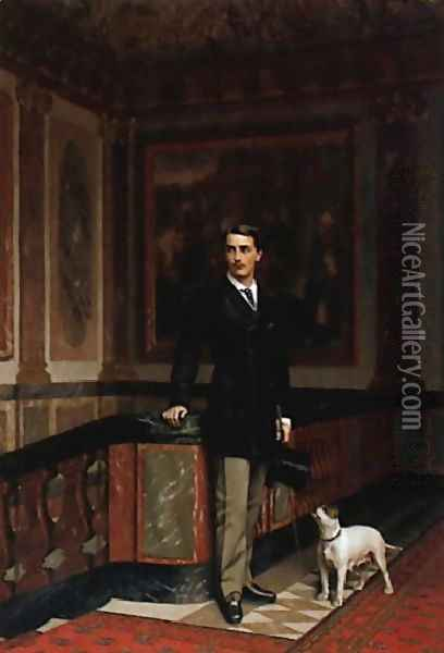 The Duc De La Rochefoucauld Doudeauville With His Terrier Oil Painting - Jean-Leon Gerome