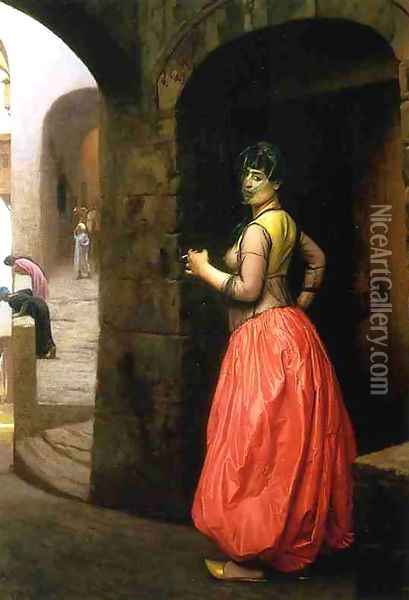 Woman from Cairo, Smoking a Cigarette Oil Painting - Jean-Leon Gerome