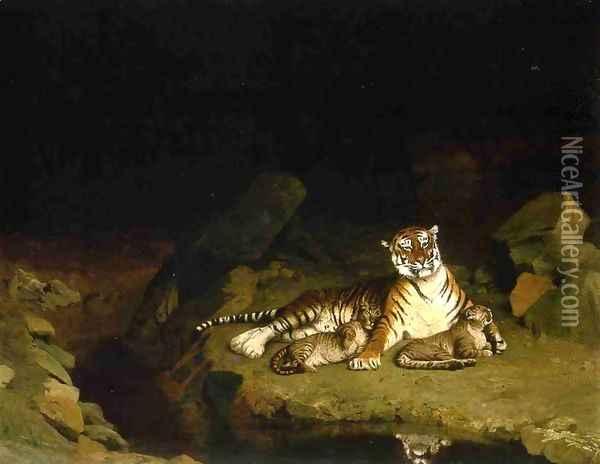 Tigress and Her Cubs Oil Painting - Jean-Leon Gerome
