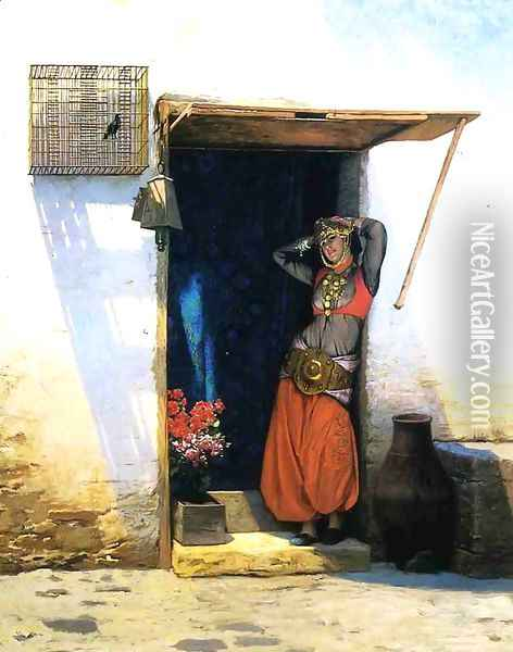 Woman from Cairo at Her Door Oil Painting - Jean-Leon Gerome