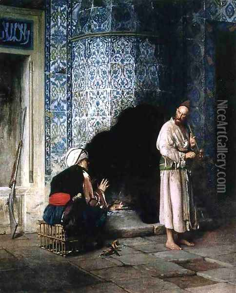 Conversation by the Fire Oil Painting - Jean-Leon Gerome