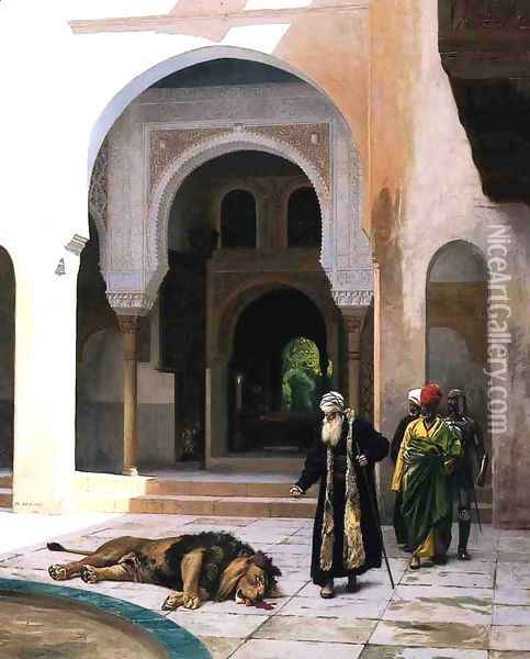 The Accursed Lion Oil Painting - Jean-Leon Gerome