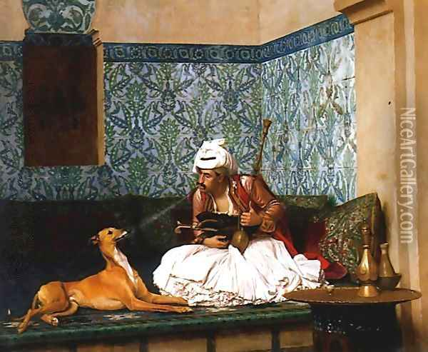 Une Plaisanterie (A Joke) (or Arnaut blowing Smoke at the Nose of his Dog) Oil Painting - Jean-Leon Gerome
