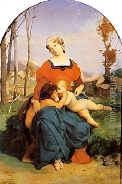 The Virgin, the Infant Jesus and St John Oil Painting - Jean-Leon Gerome