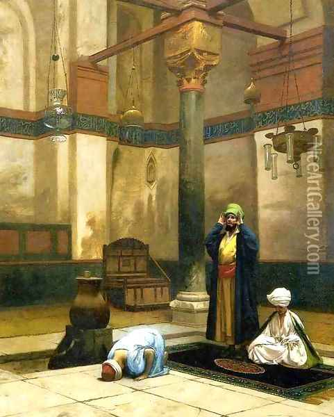 Three Worshippers Praying in a Corner of a Mosque Oil Painting - Jean-Leon Gerome