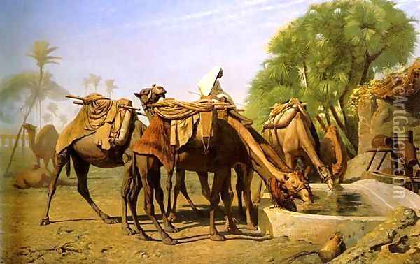 Camels at the Trough Oil Painting - Jean-Leon Gerome