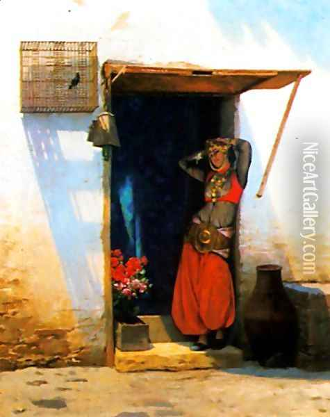 Woman of Cairo at her Door Oil Painting - Jean-Leon Gerome