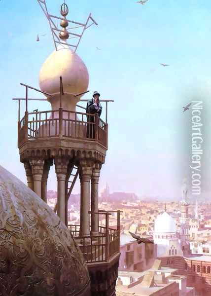 Un Muezzin Appelant du Haut du Minaret les Fidèles à la Prière (A Muezzin Calling from the Top of a Minaret the Faithful to Prayer) Oil Painting - Jean-Leon Gerome