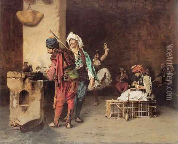Cafe House Cairo aka Casting Bullets 1883 Oil Painting - Jean-Leon Gerome