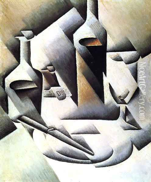 Bottles And Knife Oil Painting - Juan Gris