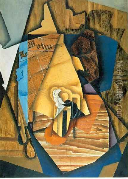 A Man In A Cafe Oil Painting - Juan Gris