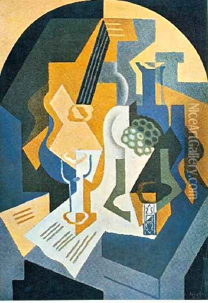 Still Life With Fruit Dish And Mandolin Oil Painting - Juan Gris