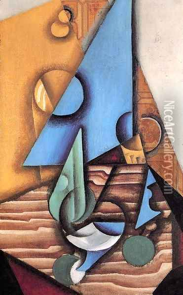 Bottle And Glass On A Table Oil Painting - Juan Gris