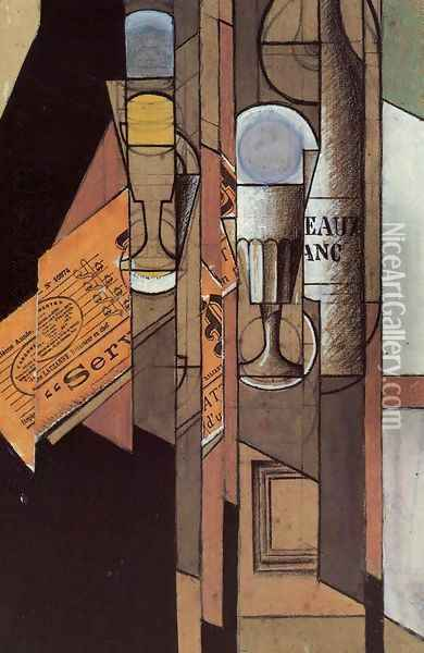 Glasses, Newspaper and Bottle of Wine Oil Painting - Juan Gris