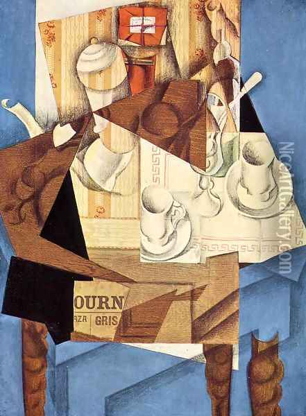 Breakfast Oil Painting - Juan Gris