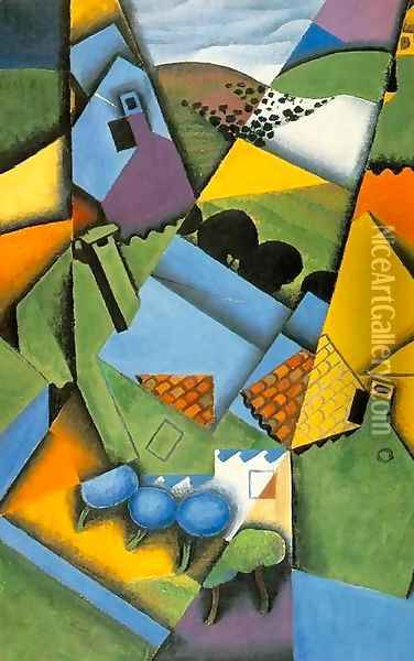 Landscape With Houses At Ceret Oil Painting - Juan Gris