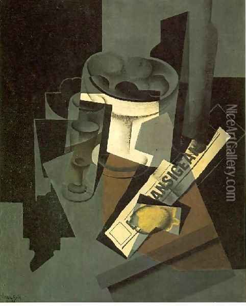 Fruit Dish Glass And Lemon Still Life With Newspaper Oil Painting - Juan Gris