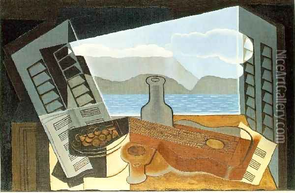 The Open Window Oil Painting - Juan Gris