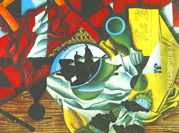 Pears And Grapes On A Table Oil Painting - Juan Gris