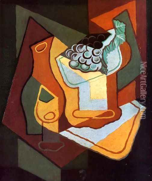 Bottle, Wine Glass and Fruit Bowl Oil Painting - Juan Gris