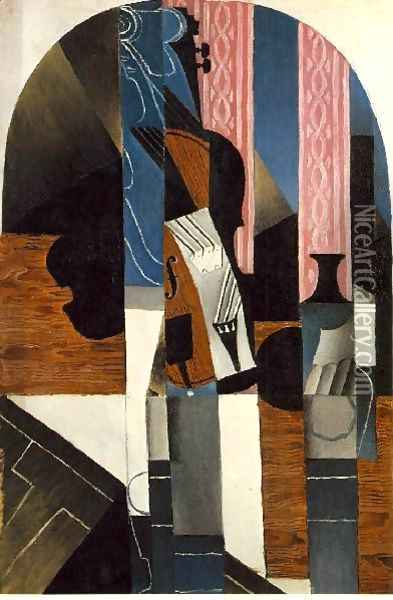Violin And Ink Bottle On A Table Oil Painting - Juan Gris